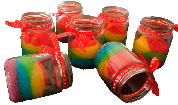 pastel arcoiris en frasco