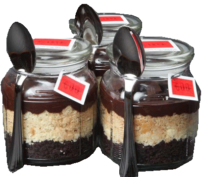 pastel chocolate-vainilla en frasco
