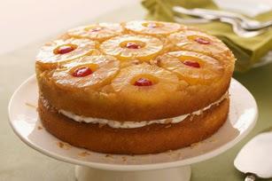 pastel invertido de piña y coco