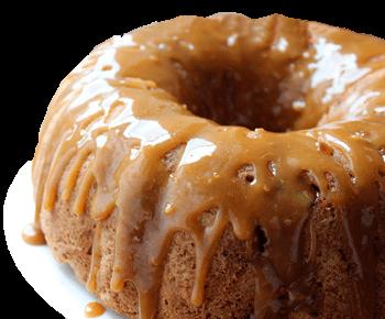 foto de pastel de manzana y caramelo derretido