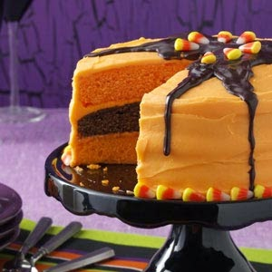 pastel naranja y chocolate